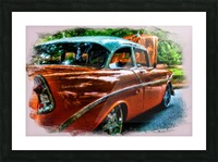 Classic Orange Car in Park Painting Impression et Cadre photo