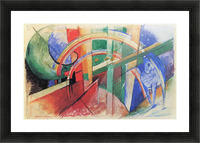 Blue horse with rainbow by Franz Marc Picture Frame print