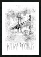 Monochrome Art NYC Manhattan Bridge | watercolor Picture Frame print