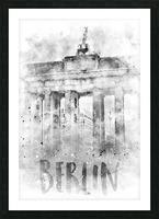 Monochrome Art BERLIN Brandenburg Gate | Watercolor Picture Frame print