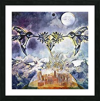Two hummingbirds in the sky eating nectar nearby a domed city Picture Frame print
