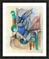 House in abstract landscape by Franz Marc Picture Frame print
