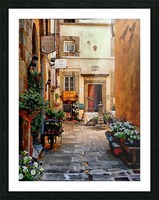 Floral Courtyard Cortona Tuscany Picture Frame print