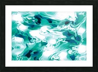Mint Chocolate Chip Ice Cream - turquoise white blue black swirls large abstract wall art Picture Frame print