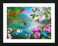 Holiday of life. Butterflies Flowers Picture Frame print