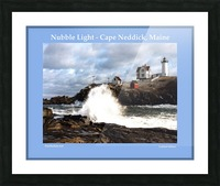 Nubble Light - Cape Neddick - York - Maine High Surf Picture Frame print