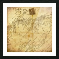 vintage map background paper Picture Frame print