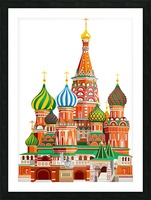 moscow kremlin saint basils cathedral red square l vector illustration moscow building Picture Frame print