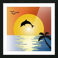 ocean sunset dolphin palm tree Picture Frame print