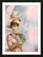 french vintage girl feathers Picture Frame print