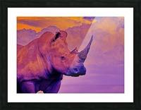 White Rhino orange purple Picture Frame print