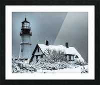 Snowing at Portland Head Lighthouse Picture Frame print