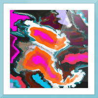 Abstract Paisley Paint Pour Picture Frame print