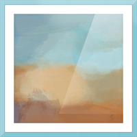 Turquoise and Copper Landscape Picture Frame print