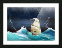 Dangerous journey sailing ship.  Picture Frame print