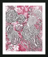 Watercolor Botanical Flowers Garden Pink Flowerbed V Picture Frame print