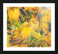 yellow flowers abstraction Picture Frame print