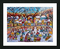 SNOWY WINTER WONDERLAND SCENE OUTDOOR HOCKEY AND SKATING FUN Picture Frame print