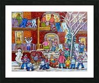 MONTREAL WINTER PORCH SCENE FUN WITH SNOW Picture Frame print