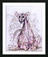 chat mouillé Picture Frame print