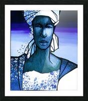 femme au turban bleu Picture Frame print