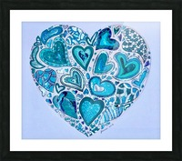 Blue Hearts Picture Frame print
