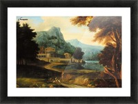 Castle wilh lake near mountains Picture Frame print