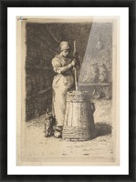 Woman churning butter Picture Frame print