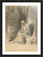 Woman seated beside a tree Picture Frame print