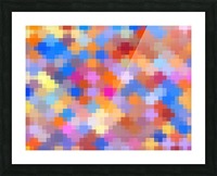 geometric square pixel pattern abstract in pink blue orange Picture Frame print
