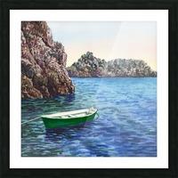 Green Boat Blue Sea Grotto Emeraldo Harbor  Picture Frame print