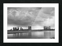 City at Ontario Lake B&W Picture Frame print