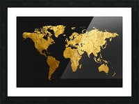 Golden World Map Picture Frame print