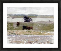 The Cows near an Old Boat, Etaples Picture Frame print