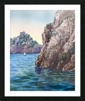 Seascape Harbor Rocky Shore Watercolor Painting Picture Frame print
