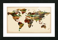 Watercolor World Map Vintage Brown Picture Frame print