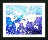 Watercolor Silhouette World Map Global Cooling  Picture Frame print