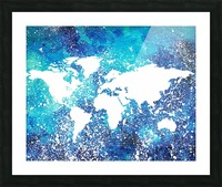 White And Teal Watercolor Silhouette World Map  Picture Frame print