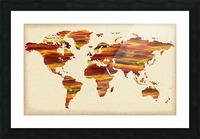 Watercolor Silhouette World Map Terra Lines Picture Frame print
