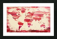 Watercolor Silhouette World Map Pink Terra Picture Frame print