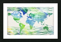 Watercolor Silhouette World Map Blue Green Wave  Picture Frame print