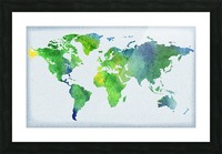 Watercolor Silhouette World Map Peaceful Green  Picture Frame print