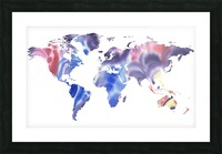 Watercolor Silhouette World Map Purple Blue Picture Frame print