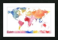 Watercolor Silhouette World Map Rainbow Sea Picture Frame print