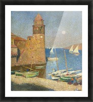 The Tower of Collioure under the Rising Moon Picture Frame print