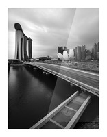 Singapores Marina Bay seen from the highway crossover Picture Frame print