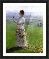 Young Woman Walking by the Field Picture Frame print