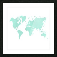 TURQUOISE SHADE WORLD MAP Picture Frame print