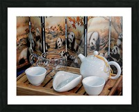 Chinese Tea Ceremony Set With Pandas Picture Frame print