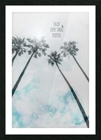 Palm trees with sun   enjoy every single moment Picture Frame print